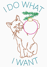 I do what I want - Cat with ornament original line art drawing design